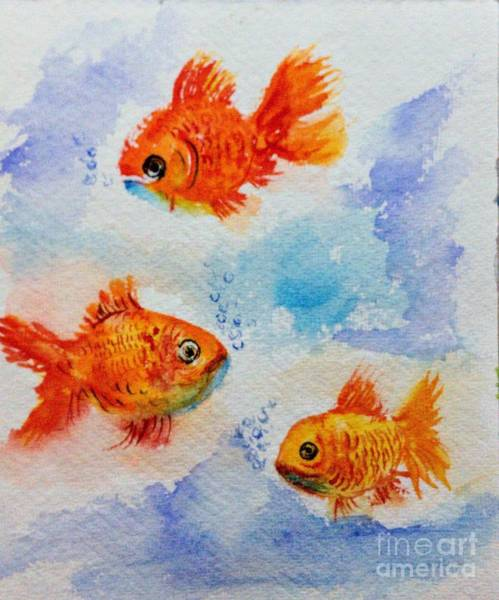 Painting - Golden Swimmers by Asha Sudhaker Shenoy