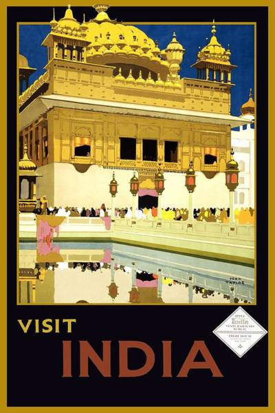 Kunst Wall Art - Painting - Golden Temple Amritsar India - Vintage Travel Advertising Poster by Studio Grafiikka