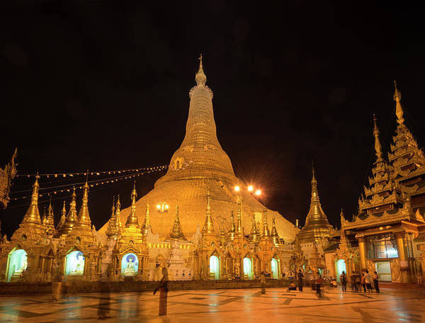 Photograph - Golden Temple Of Yangon, Shwedagon Pagoda At Night, Myanmar by Pradeep Raja PRINTS