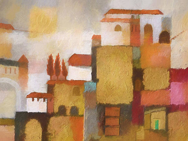 Wall Art - Painting - Golden Town Graphic by Lutz Baar