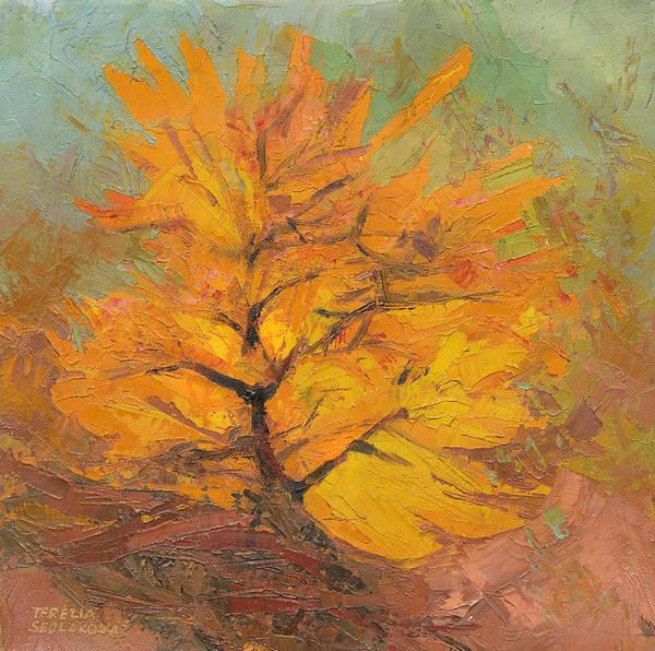 Wall Art - Painting - Golden Tree by Terezia Sedlakova