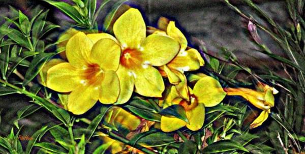 Yellow Trumpet Mixed Media - Golden Trumpets by Peggy De Haan