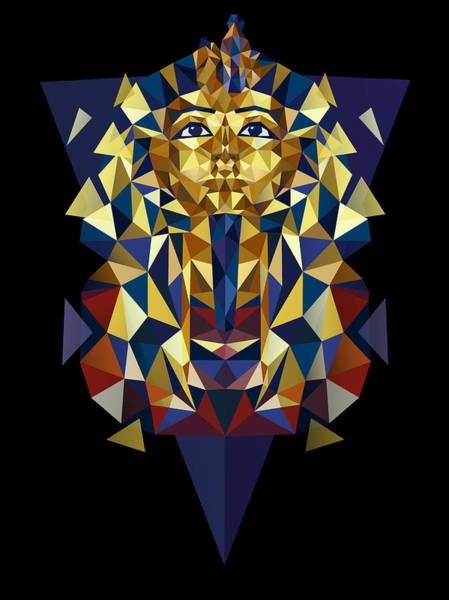 Hieroglyphs Digital Art - Golden Tutankhamun by Julia Jasiczak