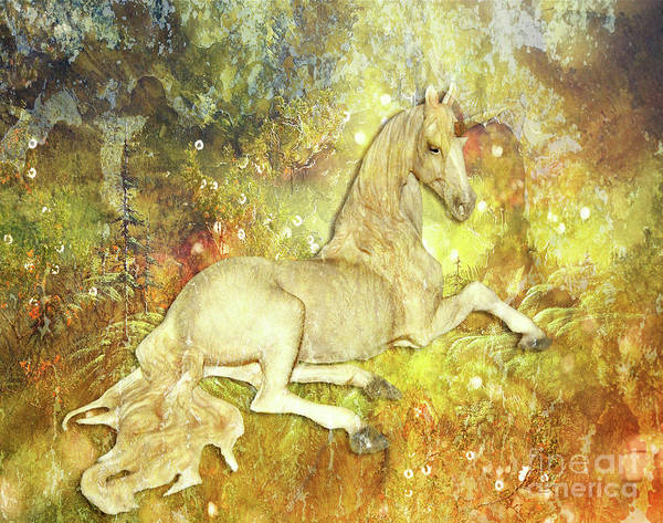 Digital Art - Golden Unicorn Dreams by Digital Art Cafe