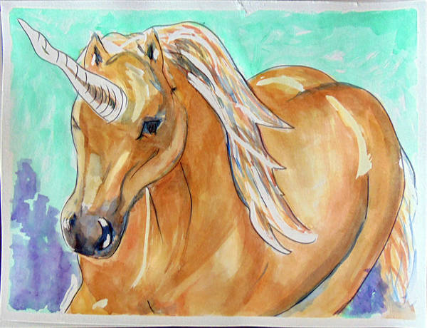 Painting - Golden Unicorn by Loretta Nash