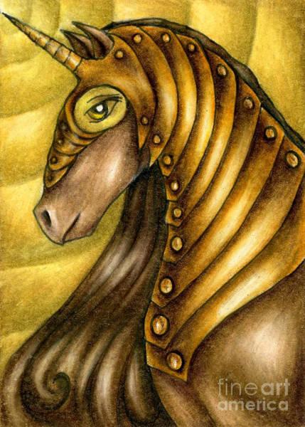 Drawing - Golden Unicorn Warrior Art by Kristin Aquariann