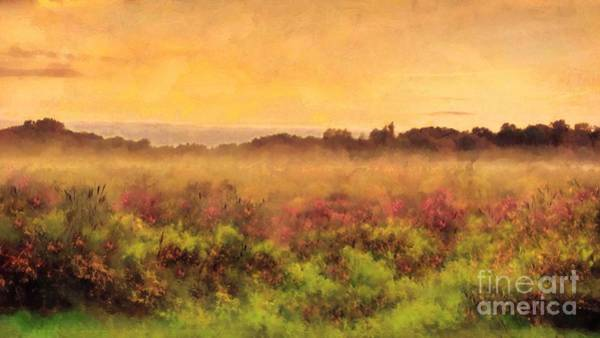 Peachy Wall Art - Photograph - Golden Valley Sunrise - Misty Meadows Morning by Janine Riley