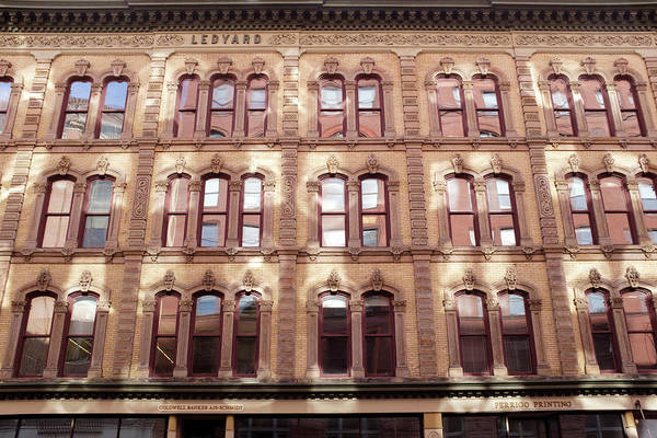 Golden Wall Of Windows And Architecture Light In Grand Rapids Michigan Art Print