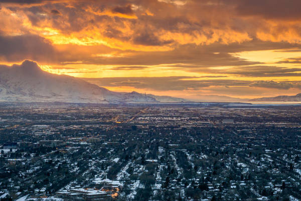 Photograph - Golden Winter Sunset In Salt Lake City by James Udall