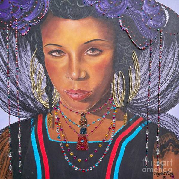 Painting - Gracious Golden Wodaabe Girl           From The Attitude Girls  by Sigrid Tune