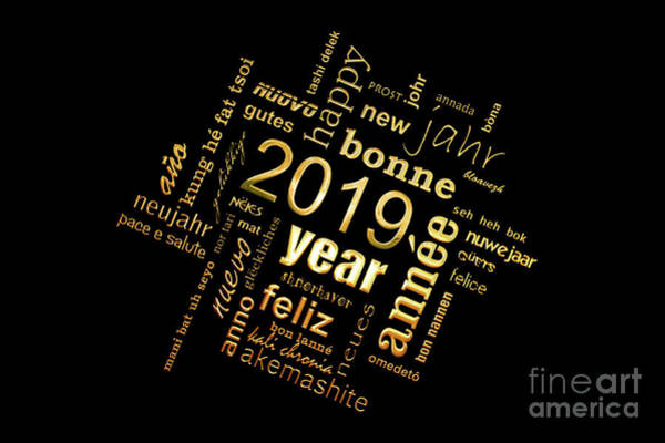 Wall Art - Photograph - Golden Word Cloud New Year Card by Delphimages Photo Creations