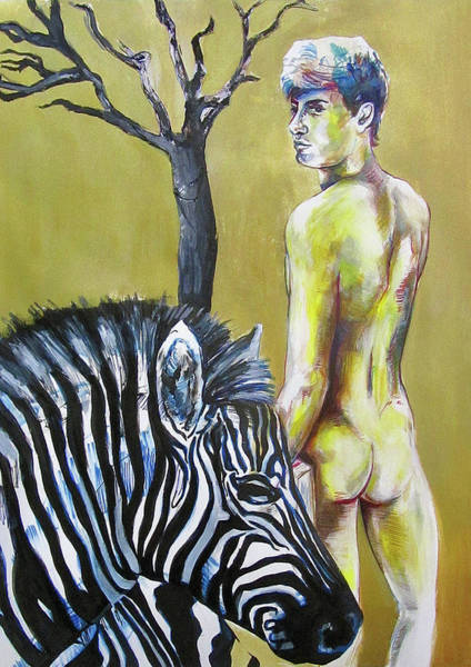 Wall Art - Painting - Golden Zebra High Noon by Rene Capone