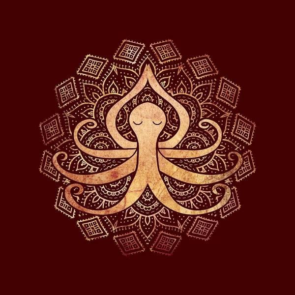 Meditation Digital Art - Golden Zen Octopus Meditating by Laura Ostrowski
