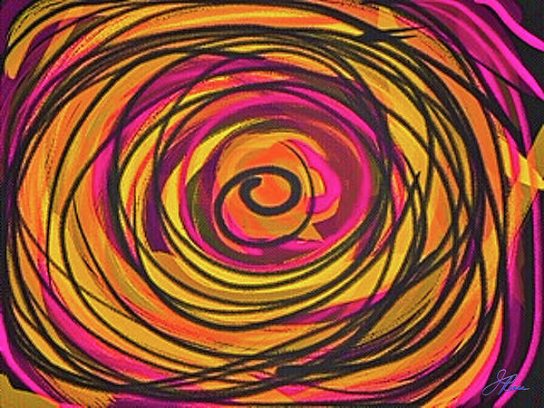 Painting - Goldenrod Abstract Curves  by Joan Reese