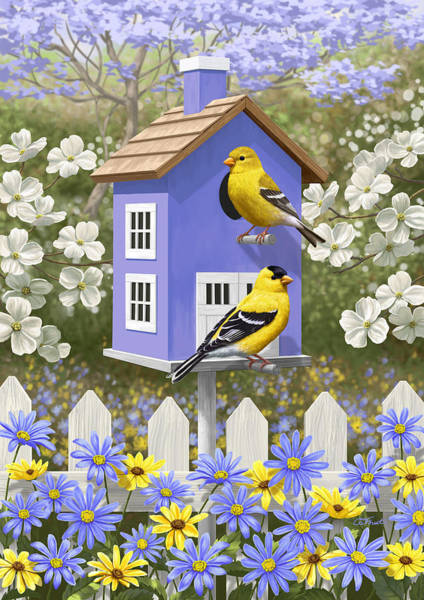 Dogwood Painting - Goldfinch Garden Home by Crista Forest