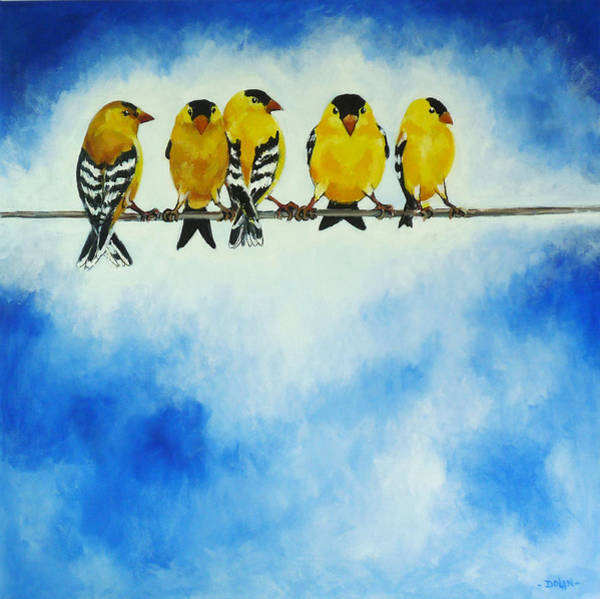 Painting - Goldfinch On A Wire by Pat Dolan