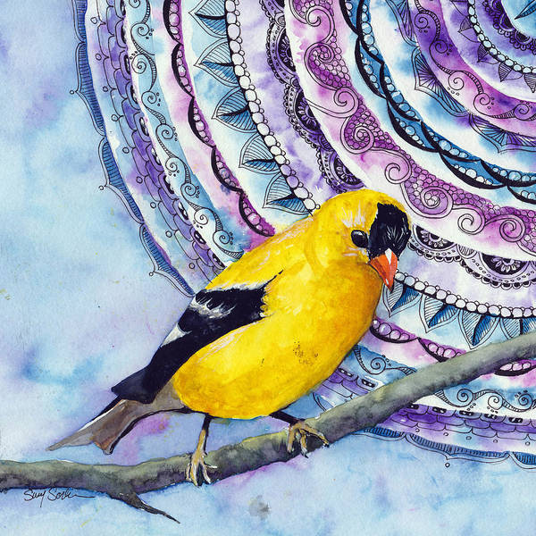 Wall Art - Painting - Goldfinch Zen Birds Series Number 4 by Susy Soulies