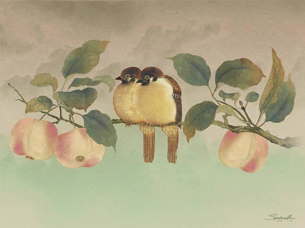 Digital Art - Golden Birds In Fruit Tree by M Spadecaller