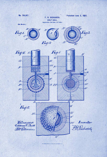 Artful Drawing - Golf Ball Patent Drawing 1902 Blueprint Inverse by Patently Artful