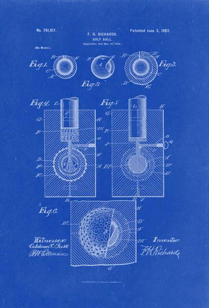 Artful Drawing - Golf Ball Patent Drawing 1902 Blueprint by Patently Artful