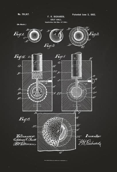 Artful Drawing - Golf Ball Patent Drawing 1902 Chalkboard by Patently Artful