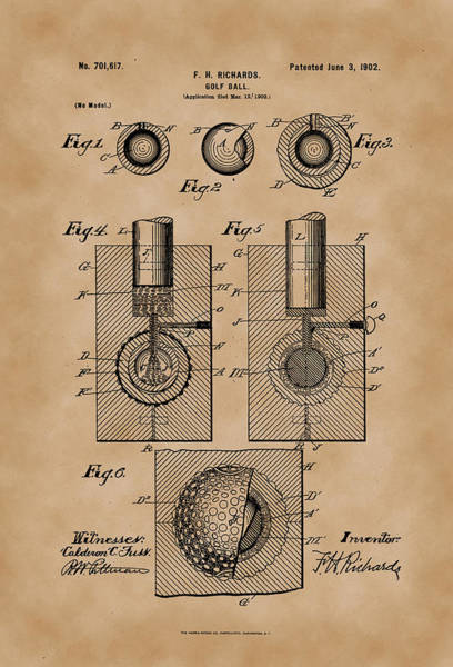 Artful Drawing - Golf Ball Patent Drawing 1902 Vintage by Patently Artful