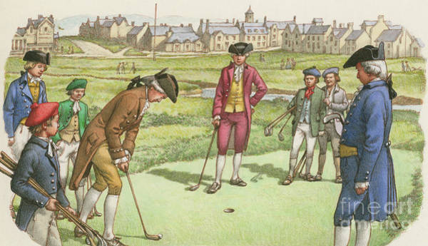Wall Art - Painting - Golf Being Played In St Andrews In The 18th Century by Pat Nicolle