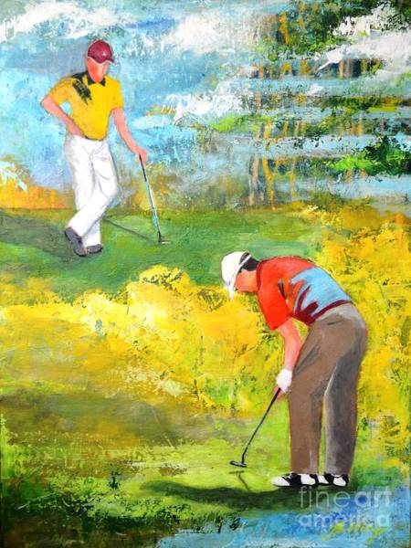 Painting - Golf Buddies #2 by Betty M M Wong