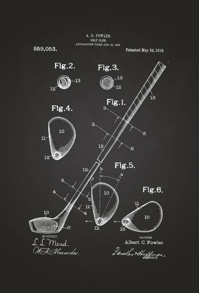 Artful Drawing - Golf Club Patent Drawing 1910 Chalkboard by Patently Artful