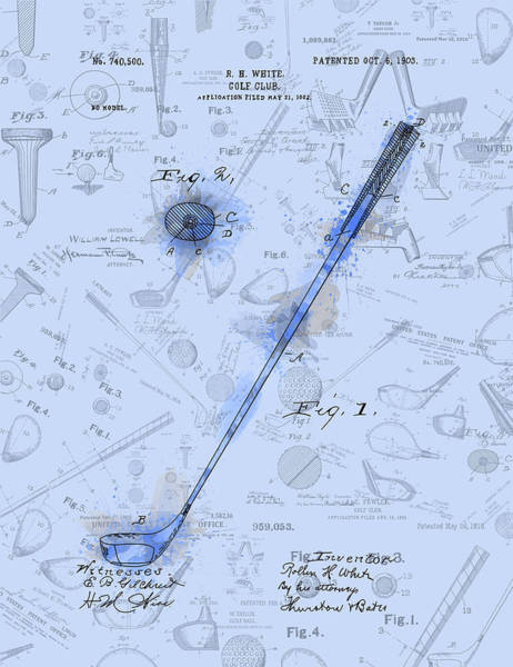 Golfing Digital Art - Golf Club Patent Drawing Watercolor Blue by Bekim M