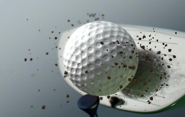 Wall Art - Digital Art - Golf Club Striking Ball In Slow Motion by Allan Swart