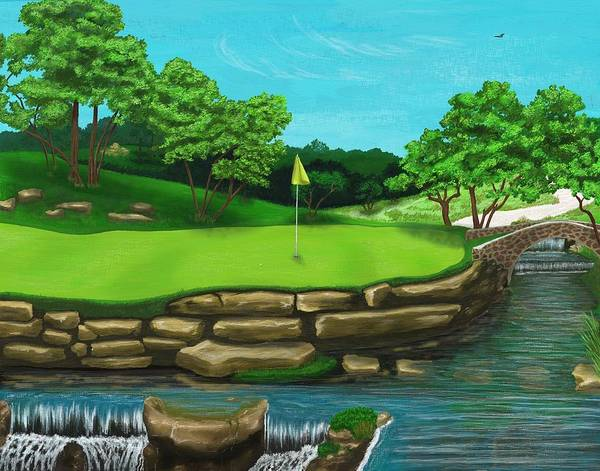 Digital Art - Golf Green Hole 16 by Troy Stapek
