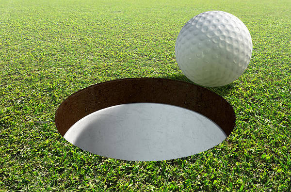 Golfing Digital Art - Golf Hole With Ball Approaching by Allan Swart