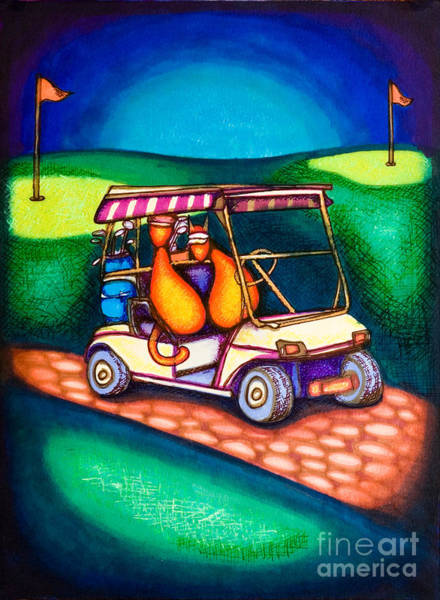 Drawing - Golf Kats by Laurie Tietjen