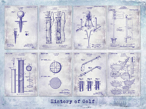 Golf Green Photograph - Golf Patent History Drawing Blueprint by Jon Neidert