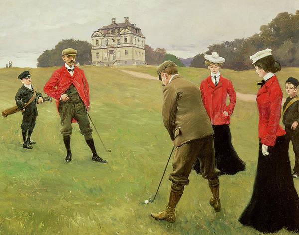 Golfers Painting - Golf Players At Copenhagen Golf Club  by Paul Fischer