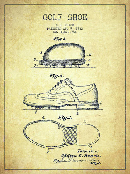 Wall Art - Digital Art - Golf Shoe Patent Drawing From 1931 - Vintage by Aged Pixel