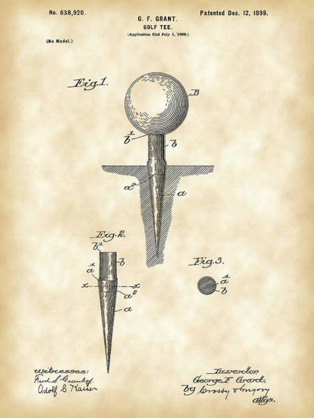 Patent Drawing Wall Art - Digital Art - Golf Tee Patent 1899 - Vintage by Stephen Younts