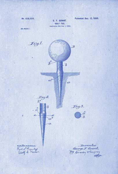 Artful Drawing - Golf Tee Patent Drawing 1899 Blueprint Inverse by Patently Artful