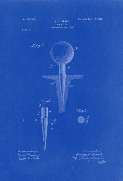 Artful Drawing - Golf Tee Patent Drawing 1899 Blueprint by Patently Artful