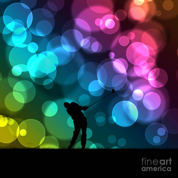 Golfer Driving Bokeh Graphic Art Print