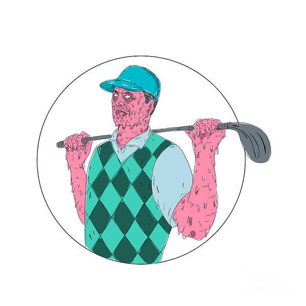 Grotesque Digital Art - Golfer Golf Club Circle Grime Art by Aloysius Patrimonio