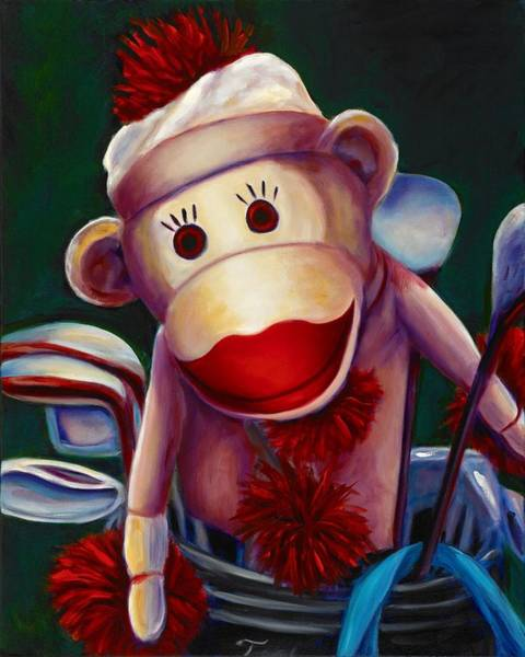 Sock Monkey Painting - Golfer Made Of Sockies by Shannon Grissom