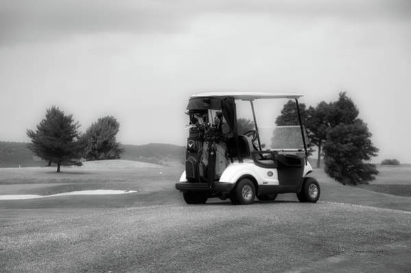 Wall Art - Photograph - Golfing Golf Cart 06 Bw by Thomas Woolworth