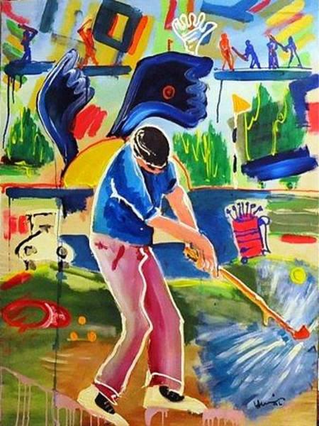 Wall Art - Painting - Golfing by Mounir Lakkis