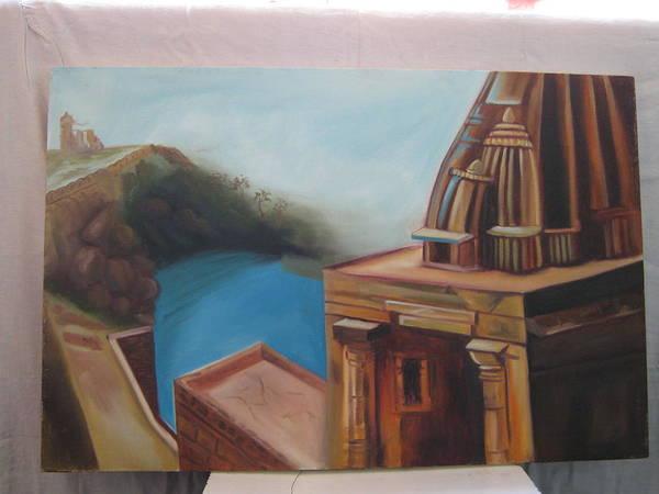 Wall Art - Painting - Gomukh by Gayatri Maheshwari