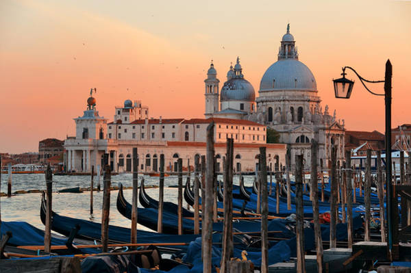 Photograph - Gondola And Santa Maria Della Salute Sunset by Songquan Deng