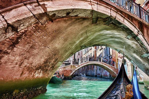 Photograph - Crossing Under Bridge On Gondola In Venice, Italy by Fine Art Photography Prints By Eduardo Accorinti