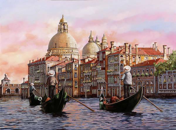 Canal Wall Art - Painting - Gondolando Gondolando by Guido Borelli
