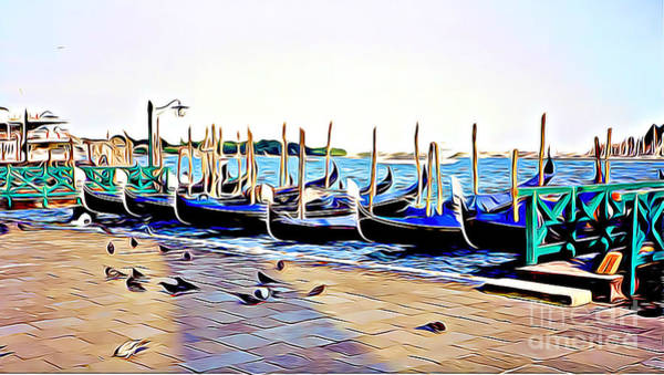 European Vacation Mixed Media - Gondolas And Pigeons In Venice by Tracy Ruckman